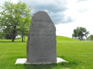 Romrell Park monument at the foot of Clark's Hill.