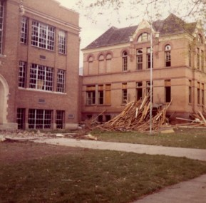 1972 DEMOLITION of the 1890 Five Points school and the c. 1926 addition of Lincoln School; photo G. Sherner.