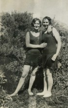 Kids continued to swim in the Mill Creek swimming hole until the 1950s; it is located east of the RR bridge over Mill Creek near the end of 7th St; photo 1927.