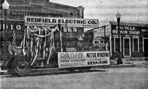 314 Washington Ave., owned by Cleveland Redfield and Carl Redfield. Bicy Repair Shop owned by their brother, Clyde Redfield; photo c. 1942.