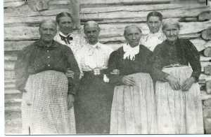 Original members of Marriott/Lynne Relief Society; L to R:Elizabeth Marriott, Mary E. Salisbury Parsons, Ellen Melling Salisbury, Anne Bickington, Mary E. Melling Stone, Harriett Reeder; photo c. 1900, published Standard Examiner July 18,1947.