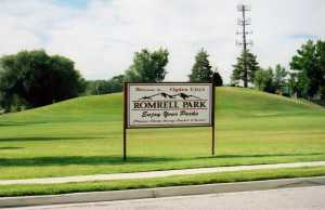 Welcome sign at Romrell Park