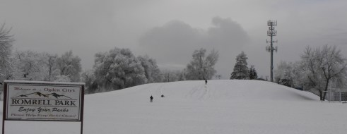 In winter sledding and tubbing are popular on Clark's Hill in the Romrell Park; photo 2012.