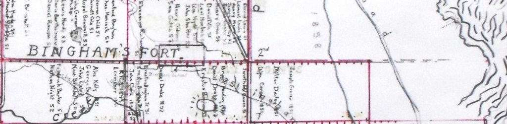 LYNNE, WEST & EAST SIDES were divided by today's Washington Blvd.: In 1855 Lynne East had only one block, 1E3N, in the Lemon Survey, and only 3 farms were claimed there; 42 farms were claimed on the west side.