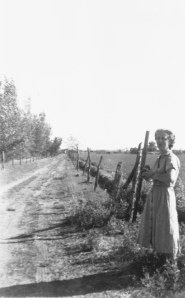 Clara Stone on the old Stone Pond cow lane in 1938.