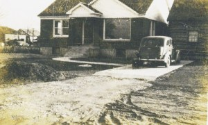 By 1952 the Montgomery family finished this new house and vacated the Bingham cabin; the new house was attached to the old Bingham granary; address today is 317 W. 2nd St; photo courtesy David Montgomery.
