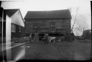 Bingham cabin on truck bed; photo courtesy David Montgomery, c. 1954.