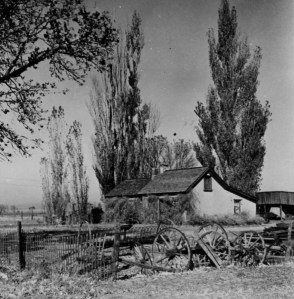 John and Jessie Stone lived in old Stone family home at 386 W. 2nd; part cabin and part adobe; photo c. 1925.