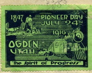 Commemorative stamp issued in 1916 summarized The Spirit of Progress in Weber County.