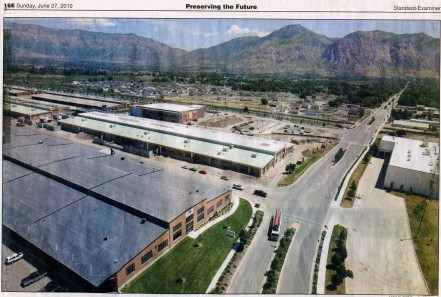 This photo taken from the water tower in BDO shows construction continuing on the Barnes Aerospace building in 2008 and in Fort Bingham subdivision; photo Nick Short/Standard Examiner 27 June 2010.