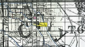1896 map detail shows Rasmus Christofferson property in pink, George Smuin property in yellow and location of F. A. Miller 1877 house S. of Smuin on Washington Ave.