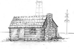 The 1863 Mill Creek School had a large rock fireplace and chimney.