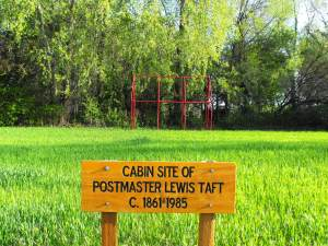TODAY – Historical marker and ghost cabin of Lewis Taft at 253 W. 2nd St., Ogden, Utah (Eagle Scout project Nathan Christiansen Oct. 2011).