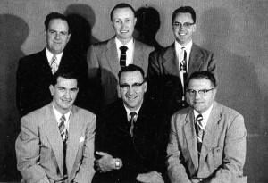 Leslie Cunningham, Bishop Elmo C. Brady, Jim Sherman. Back: Robert Brauns, Norman Farr, Robert Folkman.