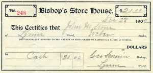 Receipt for donation to the Bishop's Storehouse