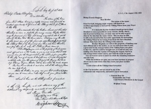 Letter from President Brigham Young to Bishop Erastus Bingham about tithing of North Ward, August 1853.